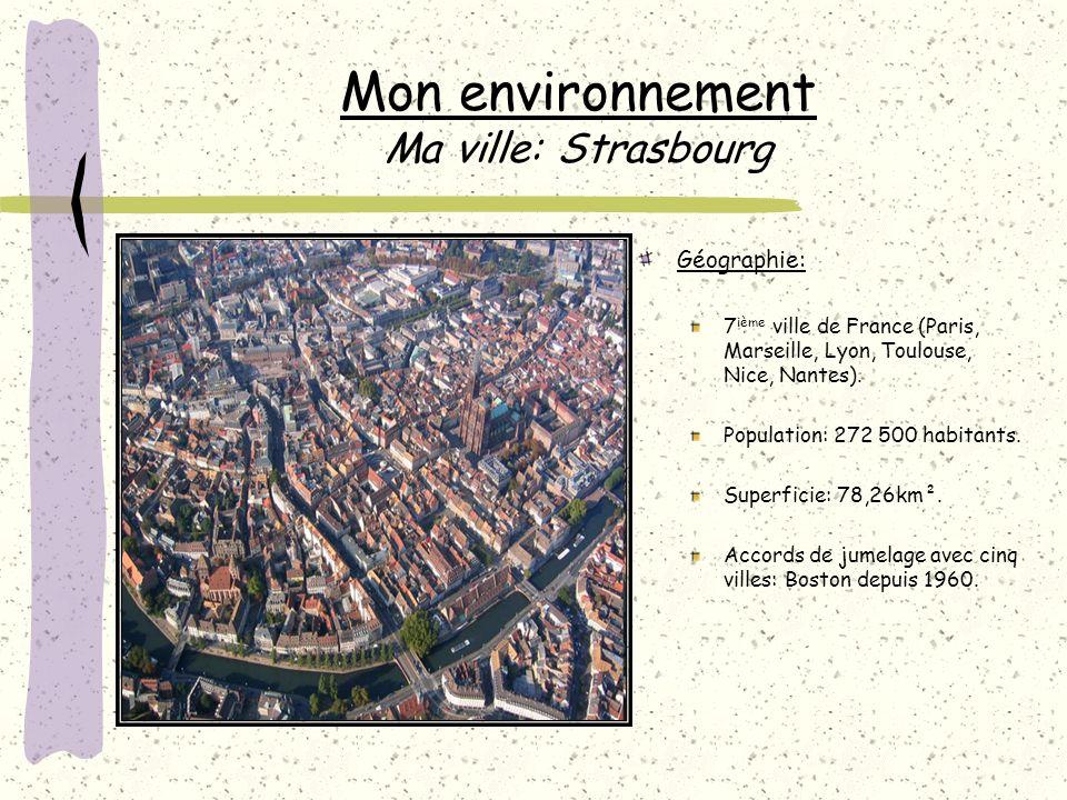 Mon environnement Ma ville: Strasbourg Géographie: 7 ième ville de France (Paris, Marseille, Lyon, Toulouse, Nice, Nantes).