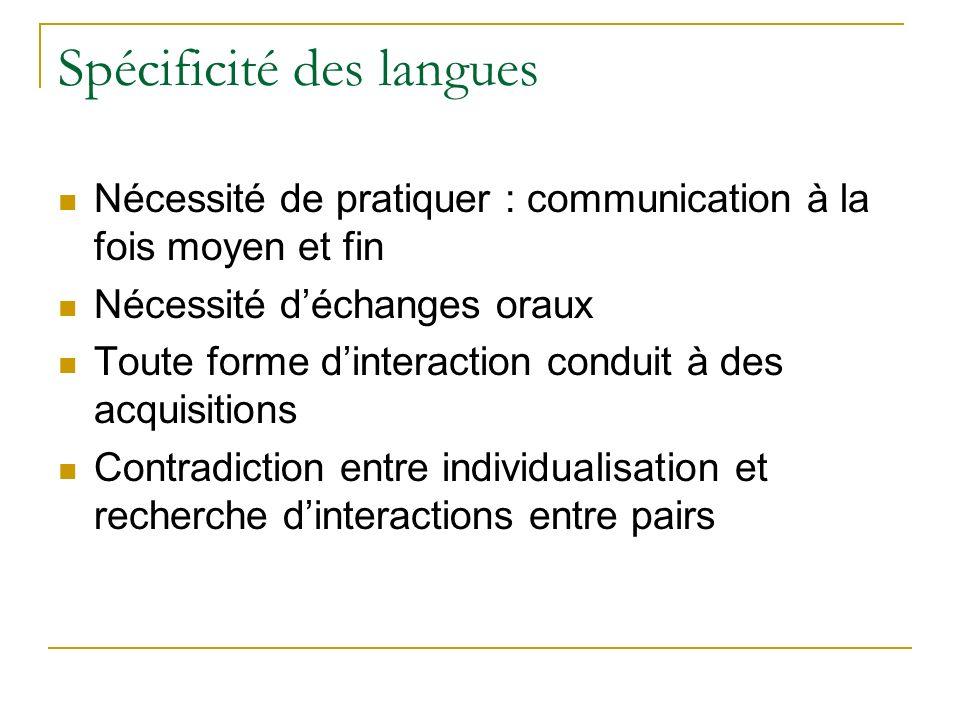 Spécificité des langues Nécessité de pratiquer : communication à la fois moyen et fin Nécessité déchanges oraux Toute forme dinteraction conduit à des