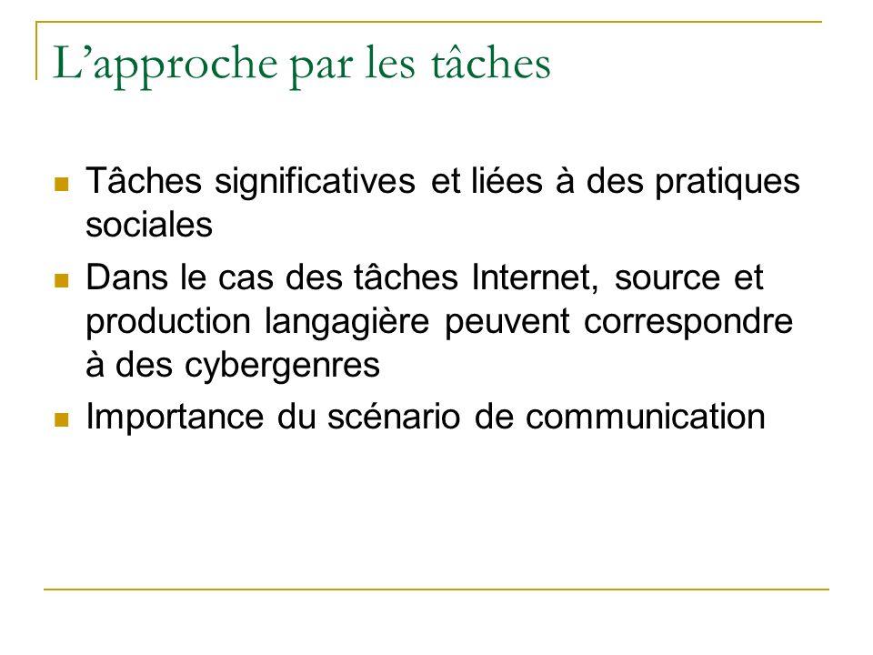 Lapproche par les tâches Tâches significatives et liées à des pratiques sociales Dans le cas des tâches Internet, source et production langagière peuvent correspondre à des cybergenres Importance du scénario de communication