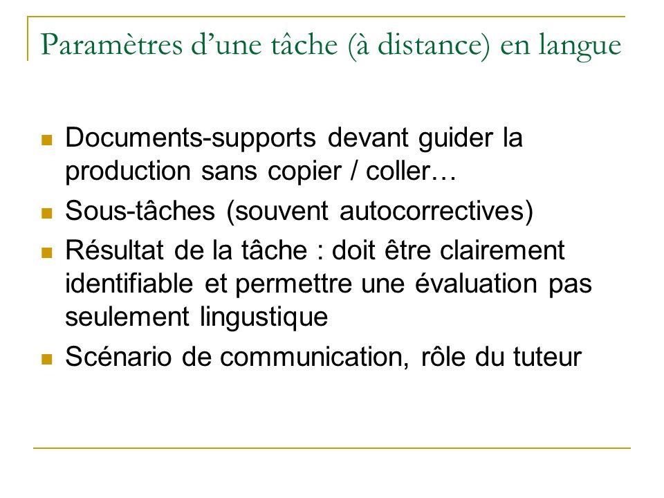 Paramètres dune tâche (à distance) en langue Documents-supports devant guider la production sans copier / coller… Sous-tâches (souvent autocorrectives) Résultat de la tâche : doit être clairement identifiable et permettre une évaluation pas seulement lingustique Scénario de communication, rôle du tuteur