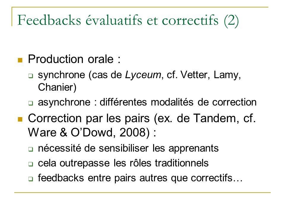 Feedbacks évaluatifs et correctifs (2) Production orale : synchrone (cas de Lyceum, cf. Vetter, Lamy, Chanier) asynchrone : différentes modalités de c