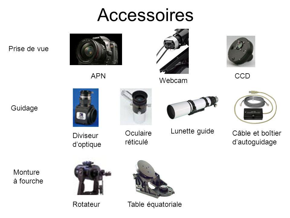 Accessoires APN Webcam CCD Diviseur doptique Oculaire réticulé Lunette guide RotateurTable équatoriale Câble et boîtier dautoguidage Prise de vue Guid