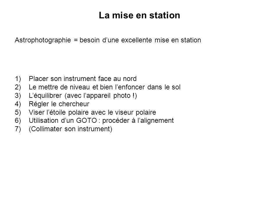 La mise en station Astrophotographie = besoin dune excellente mise en station 1)Placer son instrument face au nord 2)Le mettre de niveau et bien lenfo