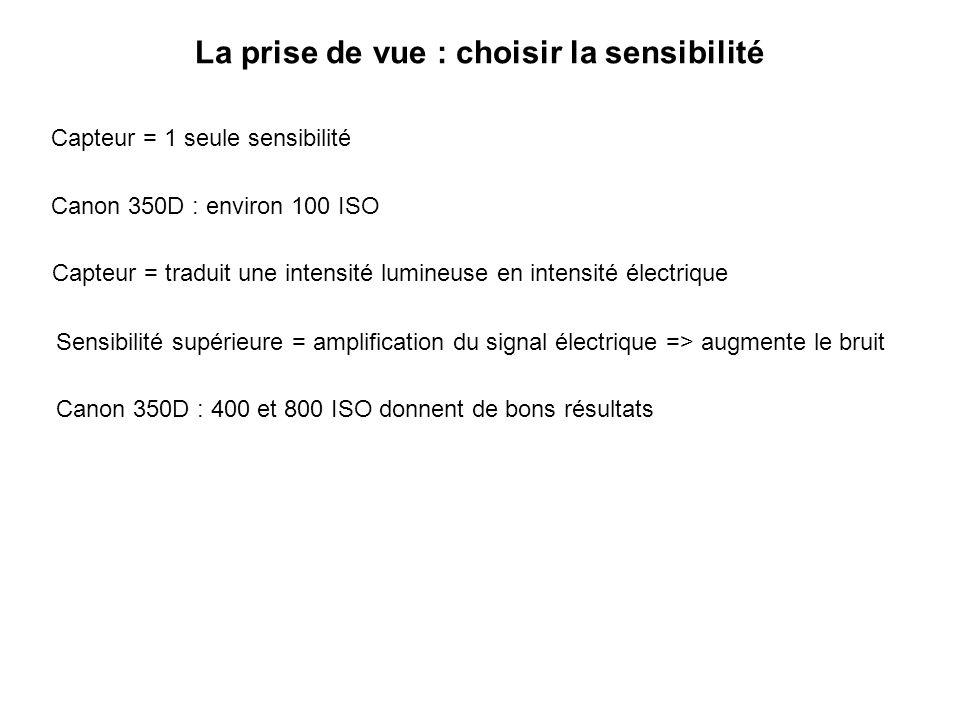La prise de vue : choisir la sensibilité Capteur = 1 seule sensibilité Canon 350D : environ 100 ISO Sensibilité supérieure = amplification du signal é