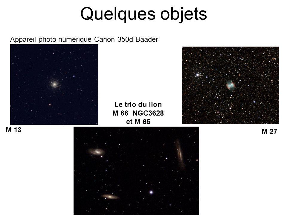 Quelques objets Appareil photo numérique Canon 350d Baader M 13 M 27 Le trio du lion M 66 NGC3628 et M 65