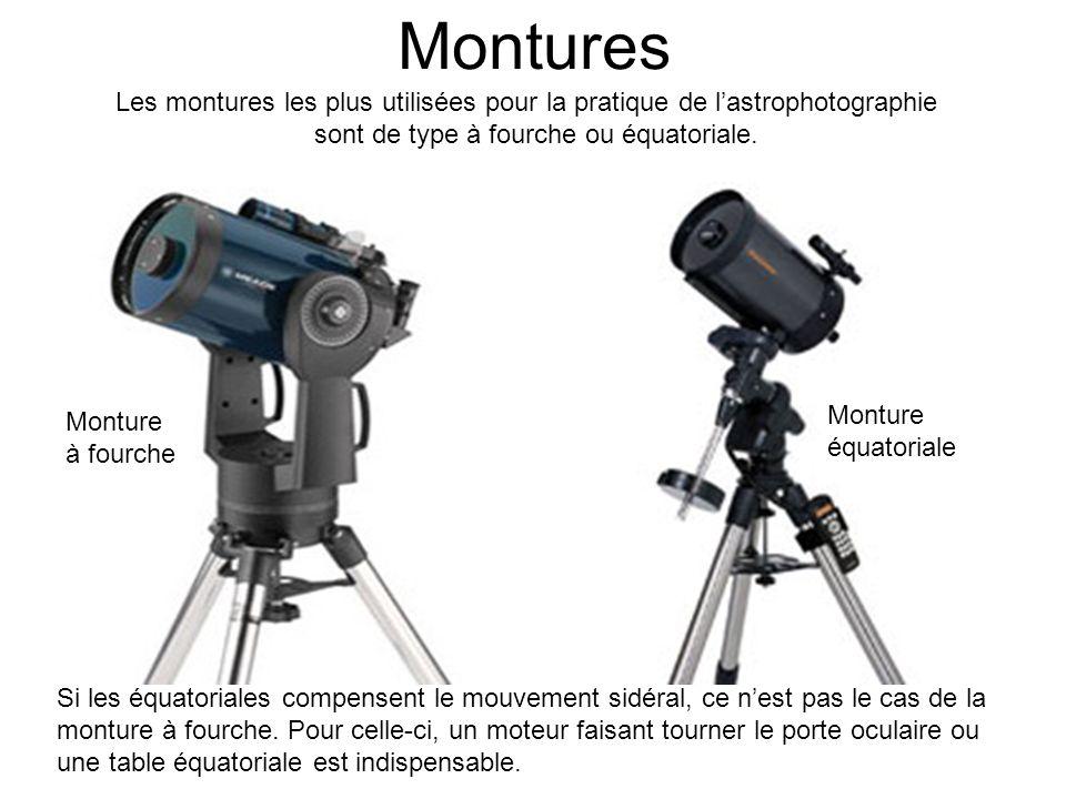 Montures Les montures les plus utilisées pour la pratique de lastrophotographie sont de type à fourche ou équatoriale. Si les équatoriales compensent
