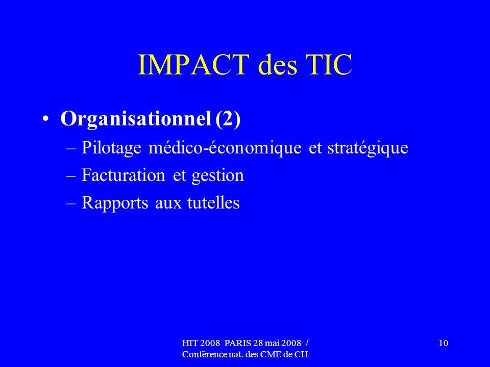 HIT 2008 PARIS 28 mai 2008 / Conférence nat. des CME de CH 10 IMPACT des TIC Organisationnel (2) –Pilotage médico-économique et stratégique –Facturati