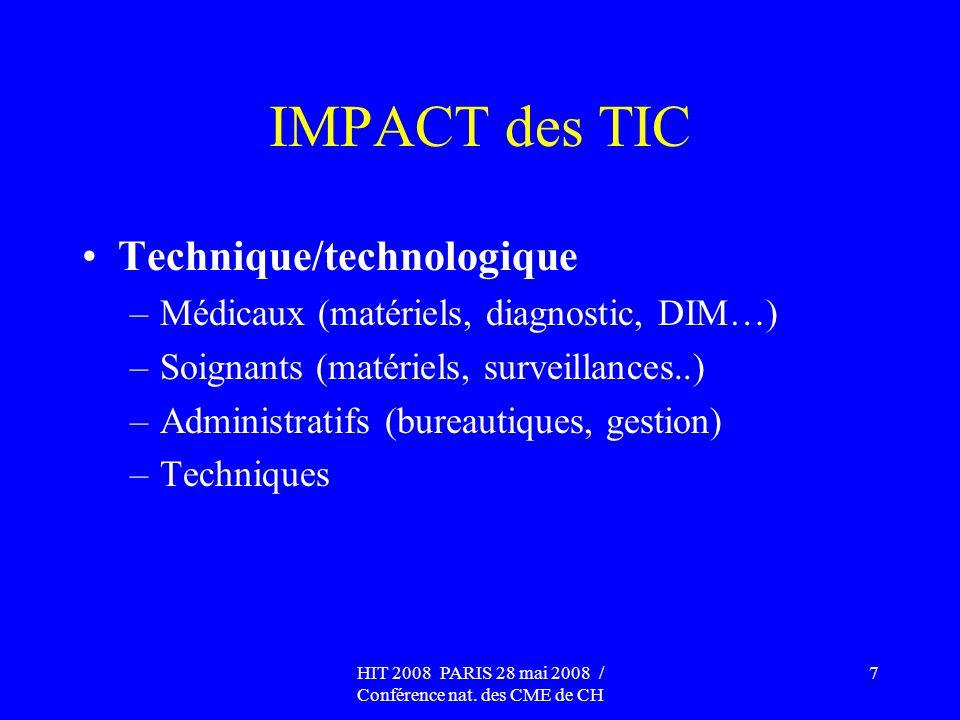 HIT 2008 PARIS 28 mai 2008 / Conférence nat. des CME de CH 7 IMPACT des TIC Technique/technologique –Médicaux (matériels, diagnostic, DIM…) –Soignants