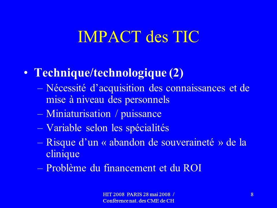 HIT 2008 PARIS 28 mai 2008 / Conférence nat. des CME de CH 8 IMPACT des TIC Technique/technologique (2) –Nécessité dacquisition des connaissances et d