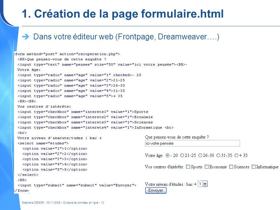 Stéphane DEGOR - 03/11/2005 – Collecte de données en ligne - 10 1. Création de la page formulaire.html Dans votre éditeur web (Frontpage, Dreamweaver…