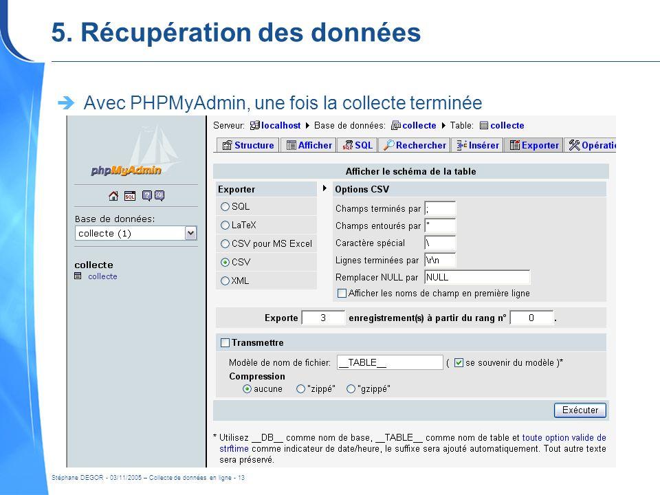Stéphane DEGOR - 03/11/2005 – Collecte de données en ligne - 13 5. Récupération des données Avec PHPMyAdmin, une fois la collecte terminée