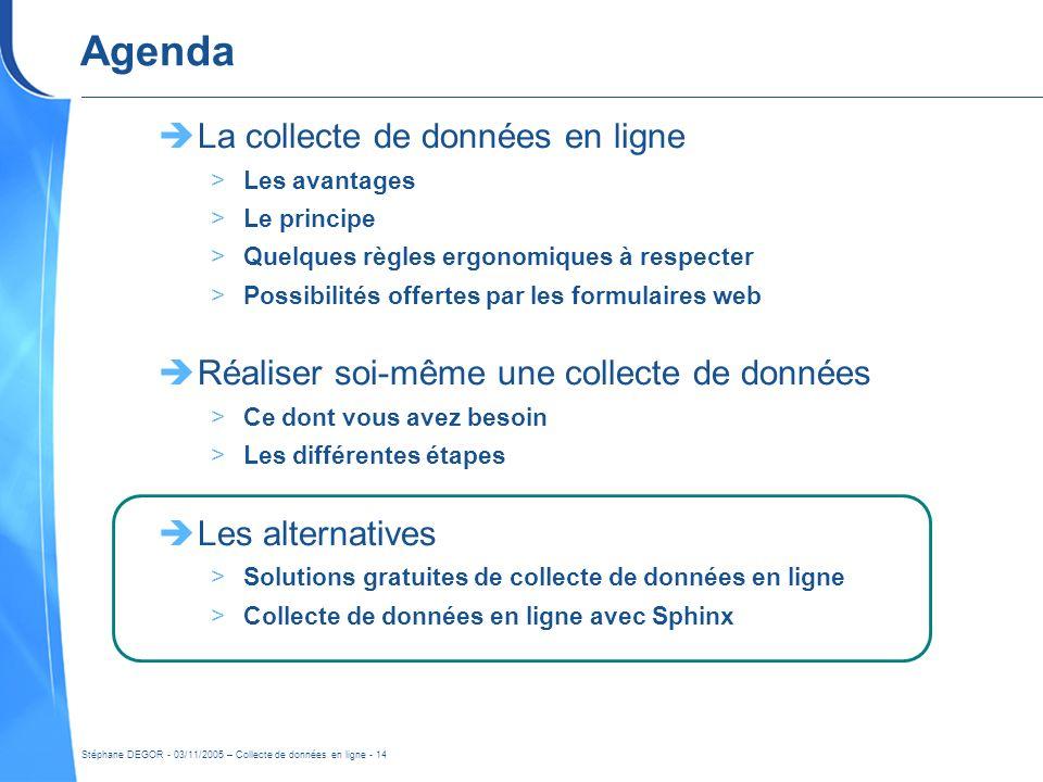 Stéphane DEGOR - 03/11/2005 – Collecte de données en ligne - 14 Agenda La collecte de données en ligne >Les avantages >Le principe >Quelques règles er