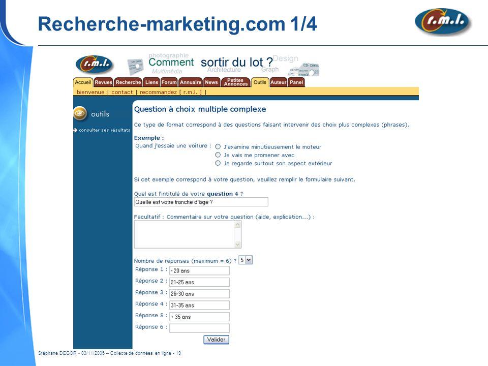 Stéphane DEGOR - 03/11/2005 – Collecte de données en ligne - 19 Recherche-marketing.com 1/4