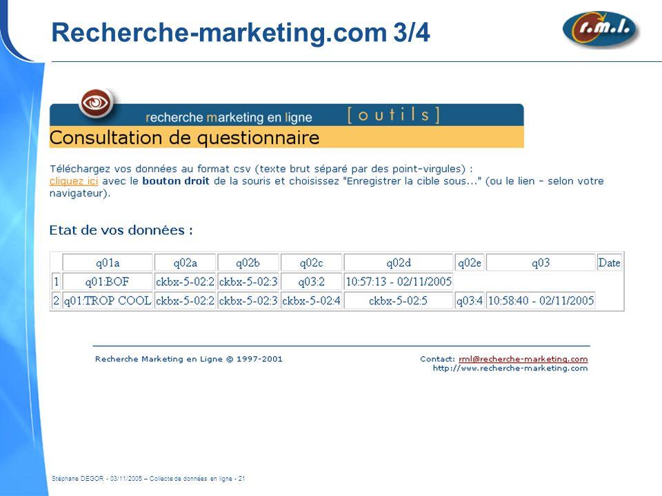 Stéphane DEGOR - 03/11/2005 – Collecte de données en ligne - 21 Recherche-marketing.com 3/4