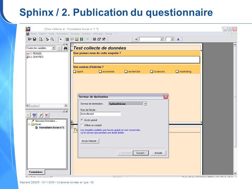 Stéphane DEGOR - 03/11/2005 – Collecte de données en ligne - 25 Sphinx / 2. Publication du questionnaire