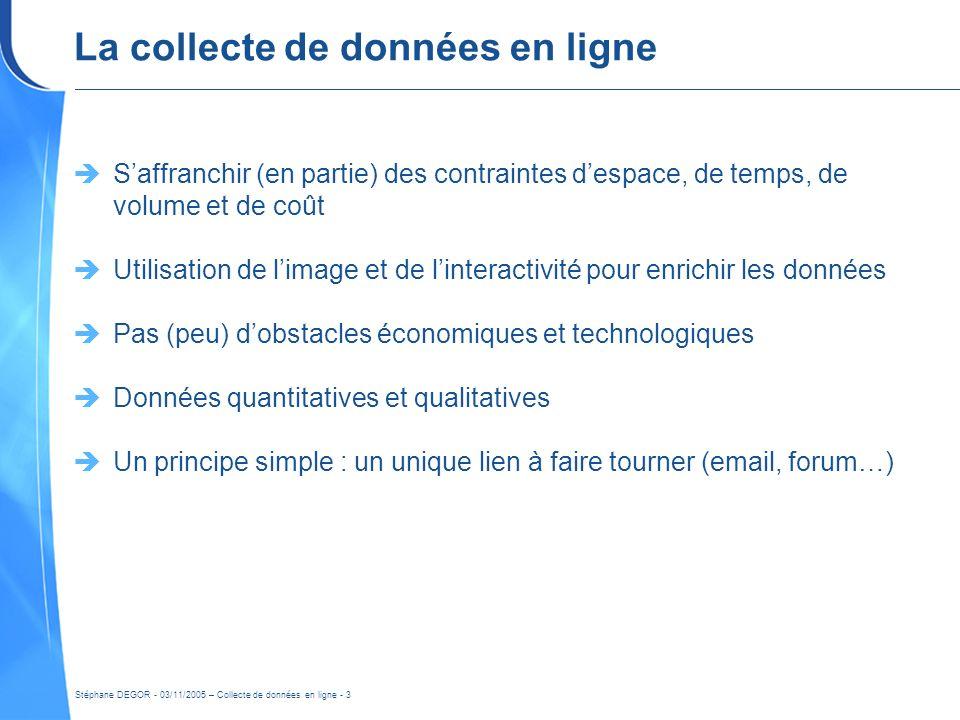 Stéphane DEGOR - 03/11/2005 – Collecte de données en ligne - 3 La collecte de données en ligne Saffranchir (en partie) des contraintes despace, de tem
