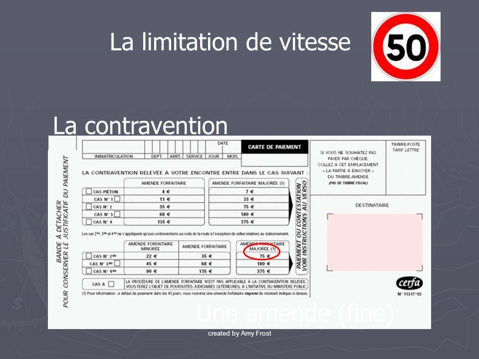 La contravention La limitation de vitesse Une amende (fine) created by Amy Frost