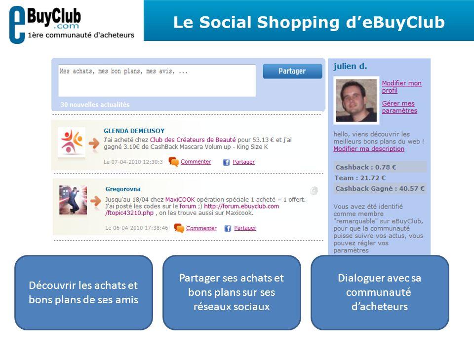 Découvrir les achats et bons plans de ses amis Partager ses achats et bons plans sur ses réseaux sociaux Dialoguer avec sa communauté dacheteurs Le Social Shopping deBuyClub