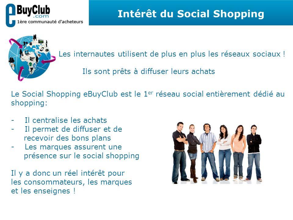 Les internautes utilisent de plus en plus les réseaux sociaux ! Ils sont prêts à diffuser leurs achats Le Social Shopping eBuyClub est le 1 er réseau
