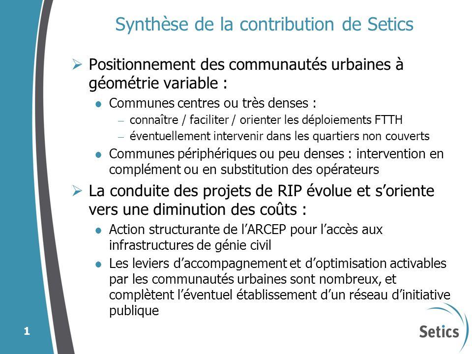 Synthèse de la contribution de Setics Positionnement des communautés urbaines à géométrie variable : Communes centres ou très denses : – connaître / f
