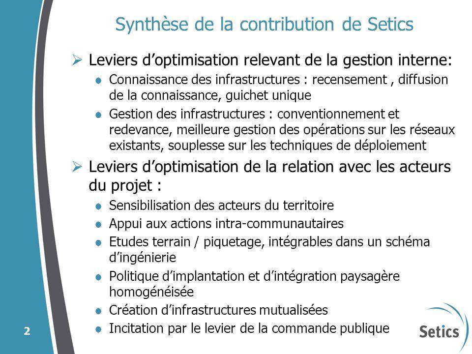 Synthèse de la contribution de Setics Leviers doptimisation relevant de la gestion interne: Connaissance des infrastructures : recensement, diffusion