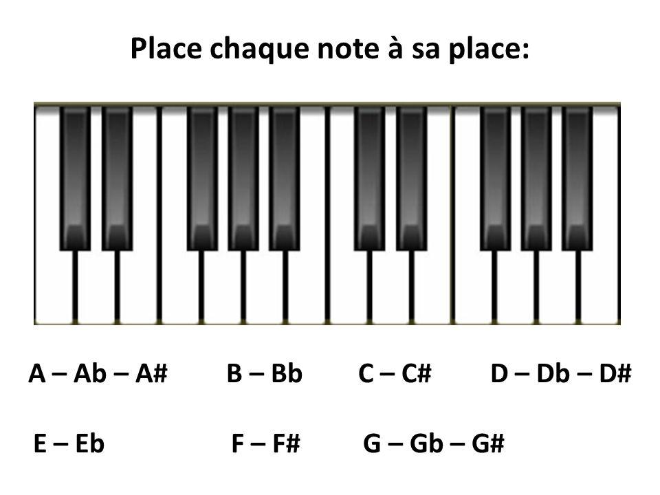 A – Ab – A#B – BbC – C#D – Db – D# E – Eb F – F# G – Gb – G# Place chaque note à sa place: