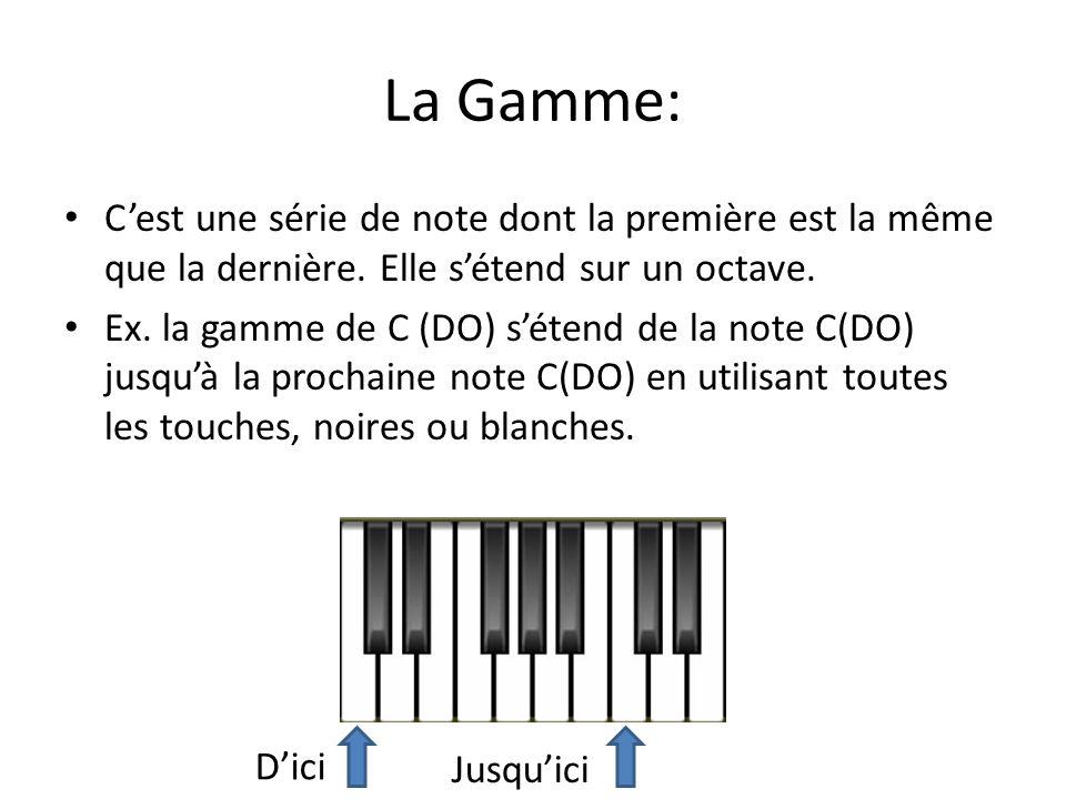 La Gamme: Cest une série de note dont la première est la même que la dernière. Elle sétend sur un octave. Ex. la gamme de C (DO) sétend de la note C(D