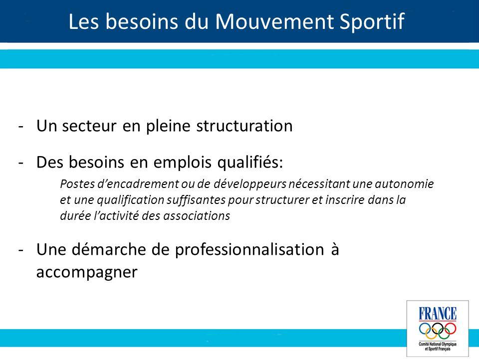 Les besoins du Mouvement Sportif -Un secteur en pleine structuration -Des besoins en emplois qualifiés: Postes dencadrement ou de développeurs nécessi