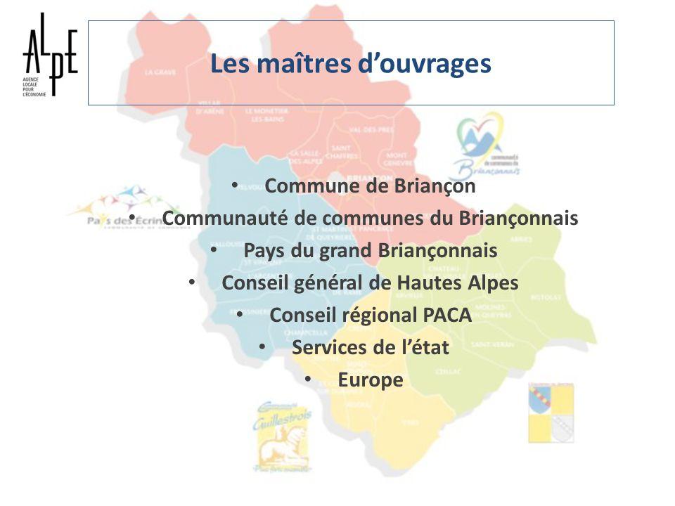 Les maîtres douvrages Commune de Briançon Communauté de communes du Briançonnais Pays du grand Briançonnais Conseil général de Hautes Alpes Conseil ré