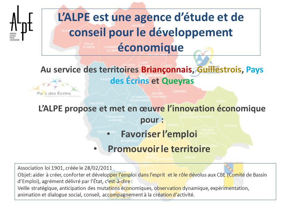 Objectifs de lALPE Contribuer à la création et au développement dactivités, à lépanouissement des salariés Anticiper les mutations Veille territoriale