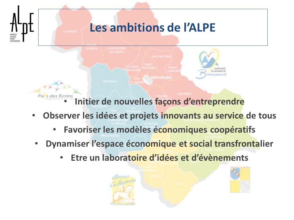 Les ambitions de lALPE Initier de nouvelles façons dentreprendre Observer les idées et projets innovants au service de tous Favoriser les modèles écon