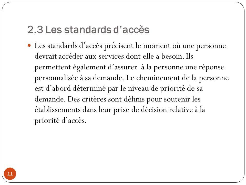 2.3 Les standards daccès Les standards daccès précisent le moment où une personne devrait accéder aux services dont elle a besoin.