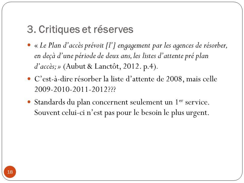3. Critiques et réserves « Le Plan daccès prévoit [l] engagement par les agences de résorber, en deçà dune période de deux ans, les listes dattente pr