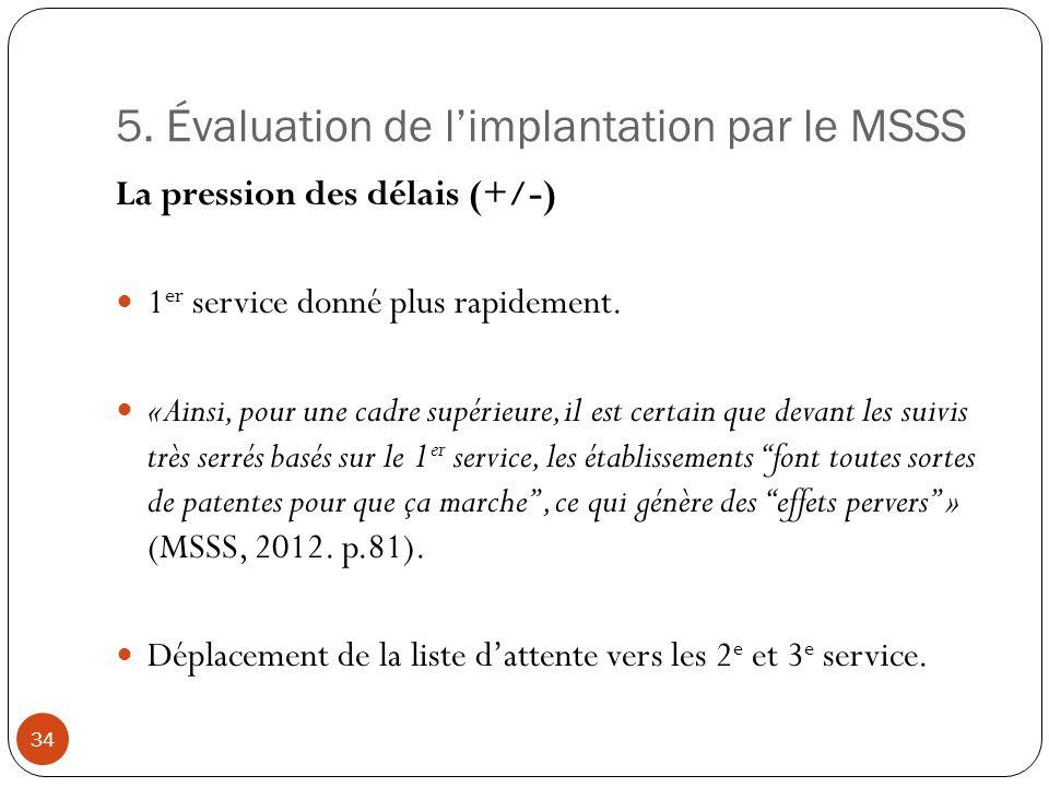 5. Évaluation de limplantation par le MSSS La pression des délais (+/-) 1 er service donné plus rapidement. «Ainsi, pour une cadre supérieure, il est