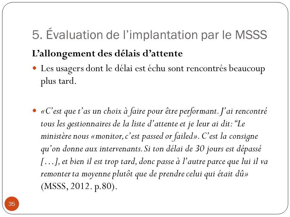 5. Évaluation de limplantation par le MSSS Lallongement des délais dattente Les usagers dont le délai est échu sont rencontrés beaucoup plus tard. «Ce