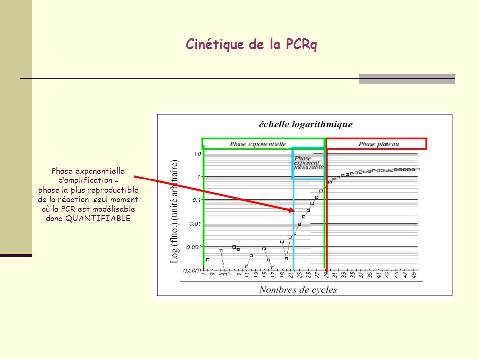 Modes de détection détection Plusieurs types de détection du produit PCR: - grâce à une molécule se liant à lADN (SYBRGreen®) - grâce à une sonde moléculaire spécifique (Taqman®,…)