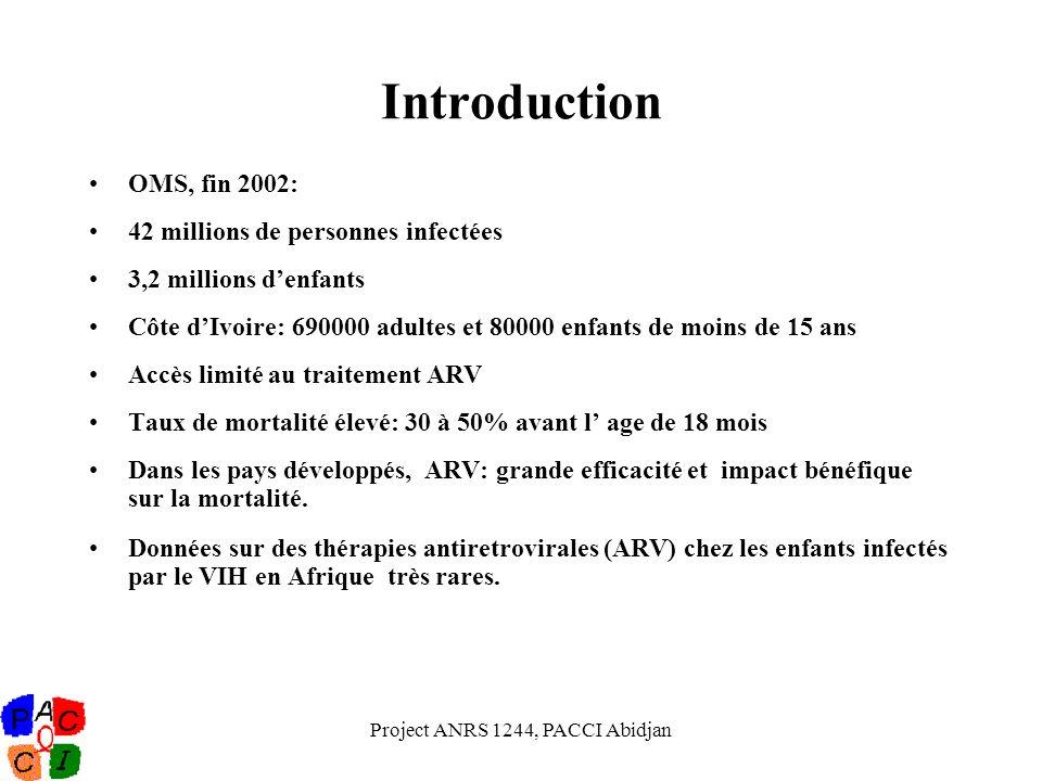 Project ANRS 1244, PACCI Abidjan Introduction OMS, fin 2002: 42 millions de personnes infectées 3,2 millions denfants Côte dIvoire: 690000 adultes et