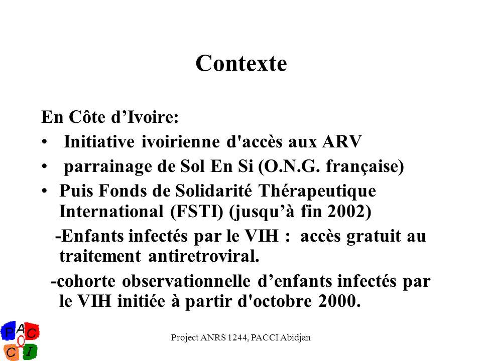 Project ANRS 1244, PACCI Abidjan Contexte En Côte dIvoire: Initiative ivoirienne d'accès aux ARV parrainage de Sol En Si (O.N.G. française) Puis Fonds