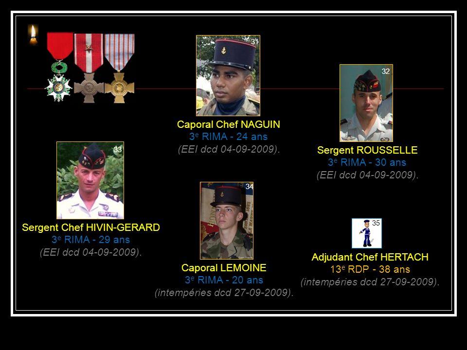 Commandant SONZOGNI 35 e RAP - 45 ans (EEI dcd 11-02-2009). Caporal BODIN 3 e RIMA - 22 ans (combat dcd 04-08-2009). Caporal Chef BELDA 27 e BCA - 23