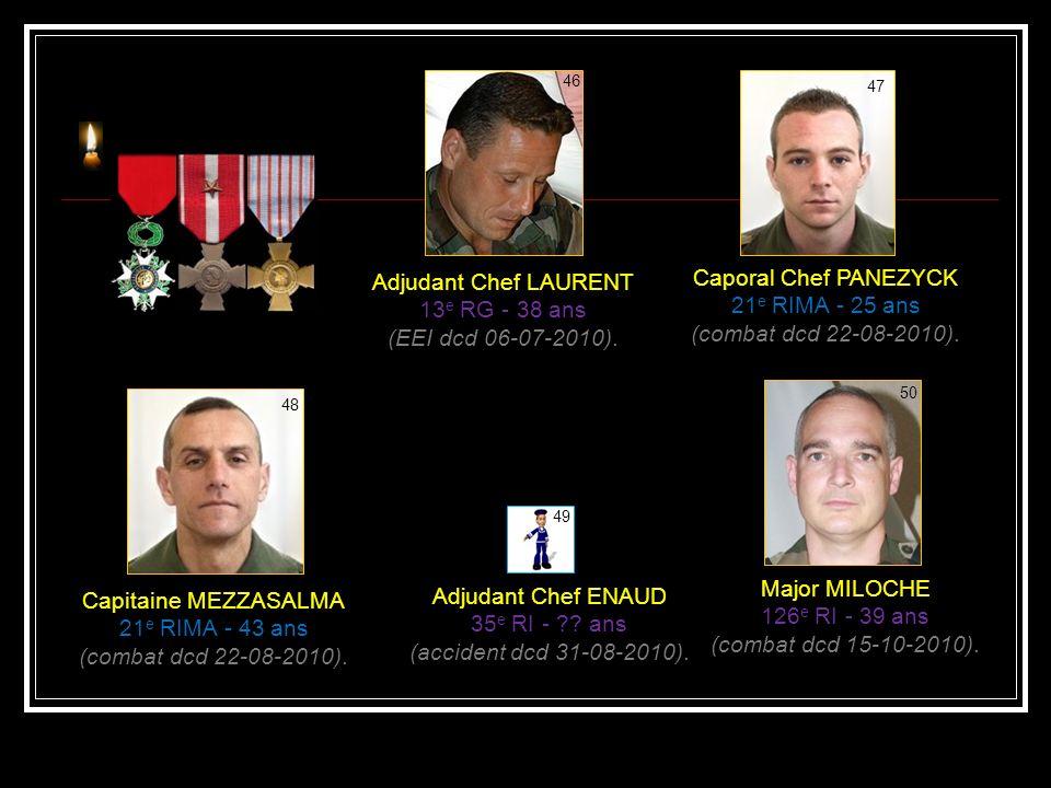 Caporal HUTNIK 2 e REP - 23 ans (combat dcd 08-04-2010). 42 Commandant BAREK- DELIGNY 3 e RG - 38 ans (EEI dcd 22-05-2010). 43 Sergent RYGIEL 2 e REP