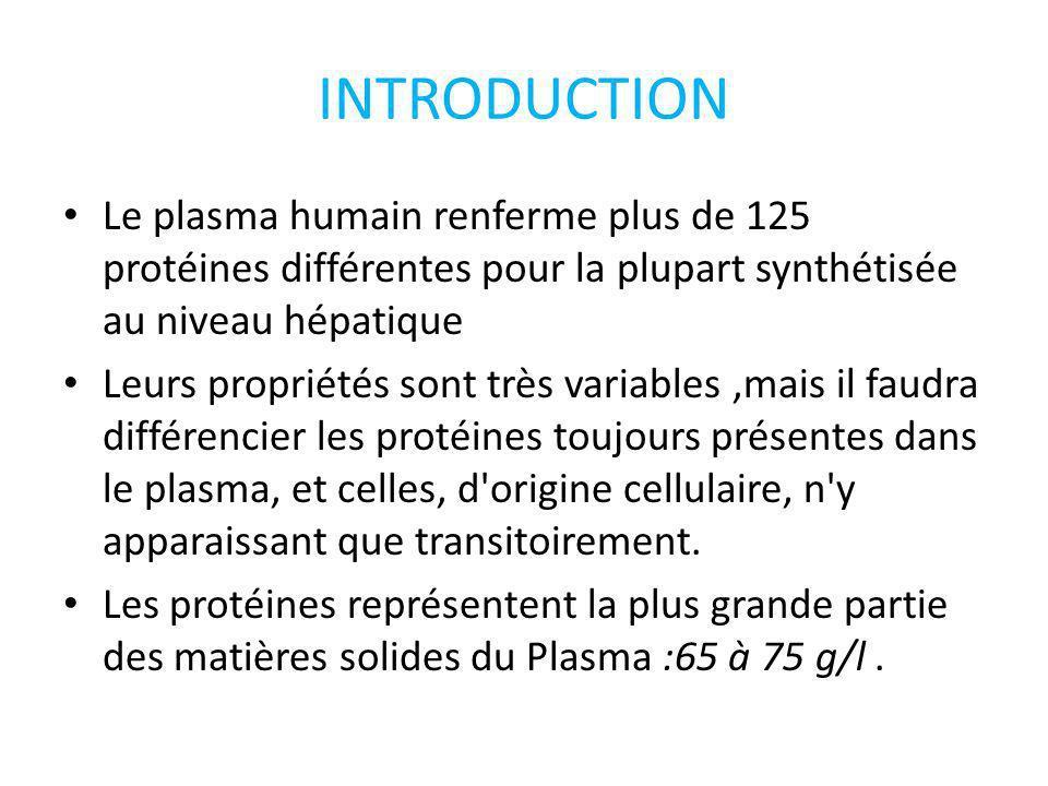 INTRODUCTION Le plasma humain renferme plus de 125 protéines différentes pour la plupart synthétisée au niveau hépatique Leurs propriétés sont très va