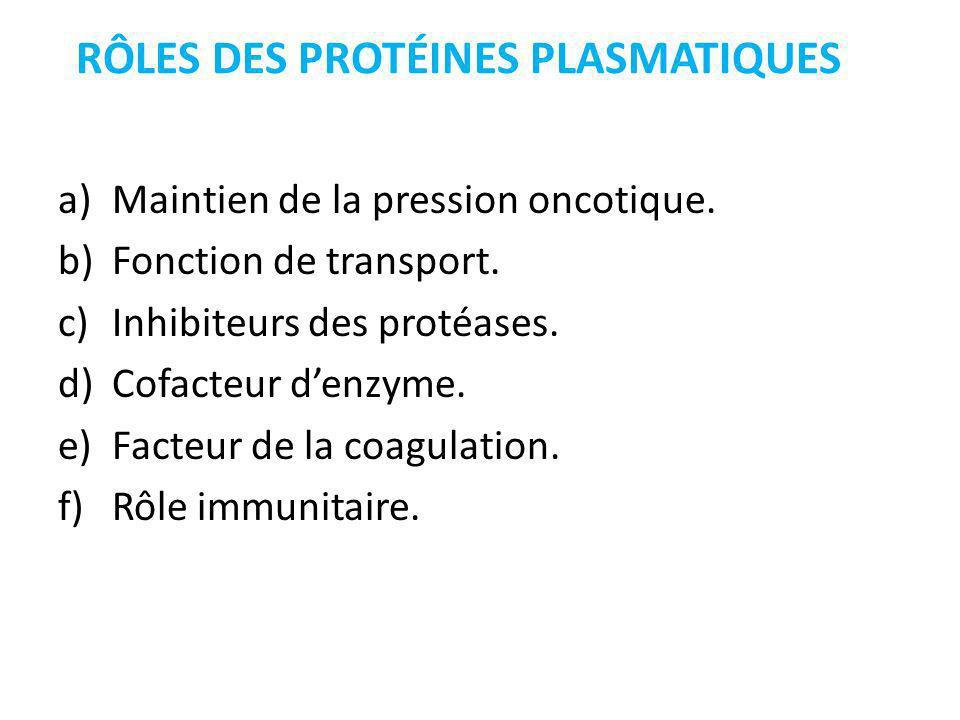 RÔLES DES PROTÉINES PLASMATIQUES a)Maintien de la pression oncotique.
