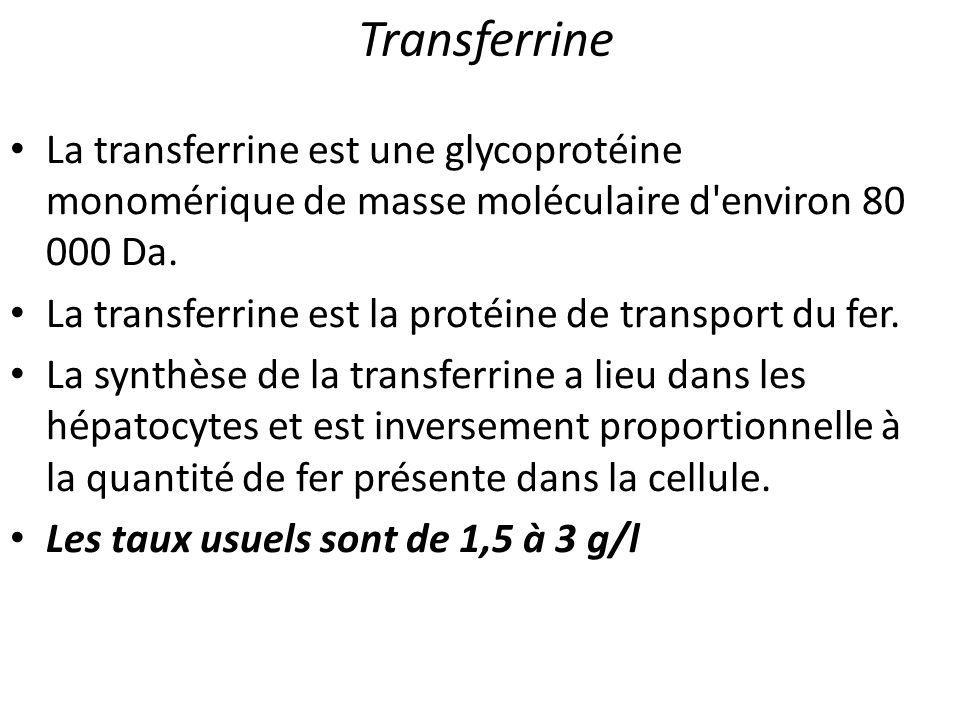 Transferrine La transferrine est une glycoprotéine monomérique de masse moléculaire d'environ 80 000 Da. La transferrine est la protéine de transport