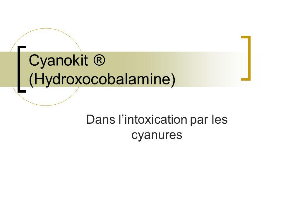 Cyanure et produits cyanogènes Acide cyanhydrique (Fabrication dinsecticides) Cyanures halogénés (Fumigation) Cyanures glycosylés (Plantes,fruits,produits naturels) Sels de cyanure (Laboratoires danalyse chimique, lindustrie pharmaceutique …) Nitriles (Fabrication de fibres synthétiques, de résines thermoplastiques, de caoutchouc …) Nitroprussiate (Nipride ®)