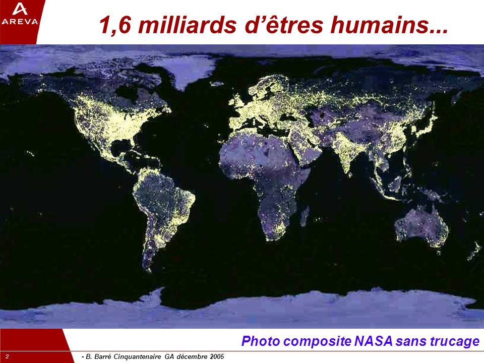 - B. Barré Cinquantenaire GA décembre 2005 2 1,6 milliards dêtres humains...