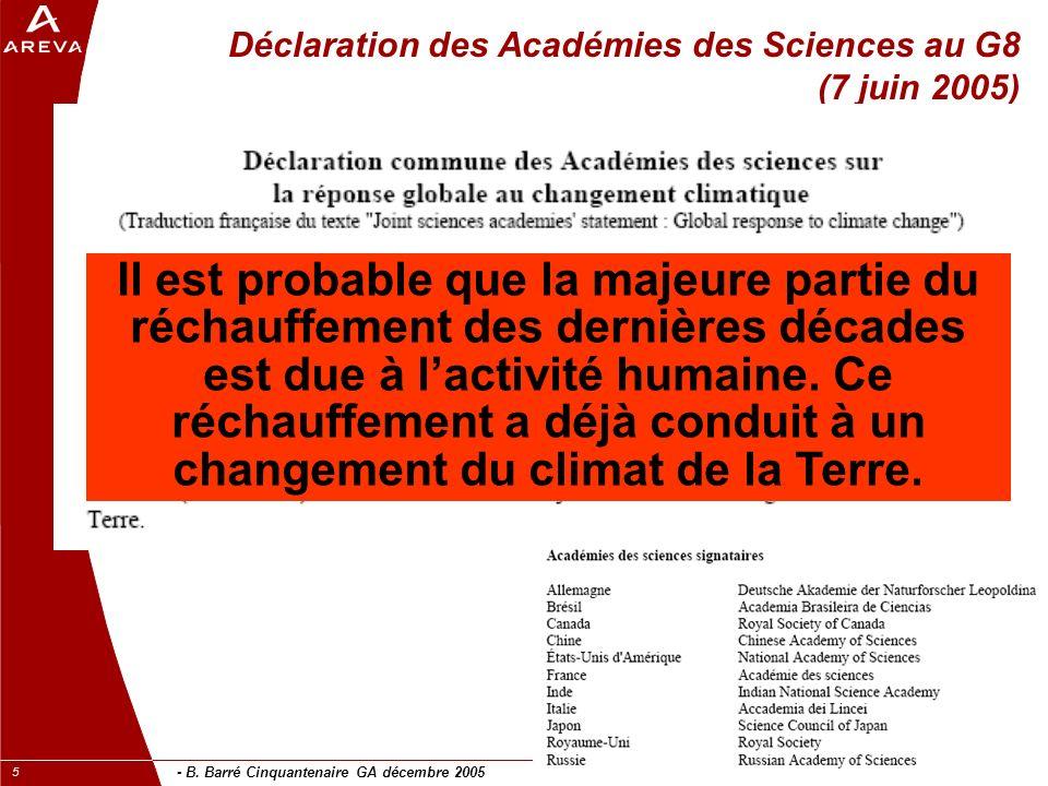 - B. Barré Cinquantenaire GA décembre 2005 5 Déclaration des Académies des Sciences au G8 (7 juin 2005) Il est probable que la majeure partie du récha