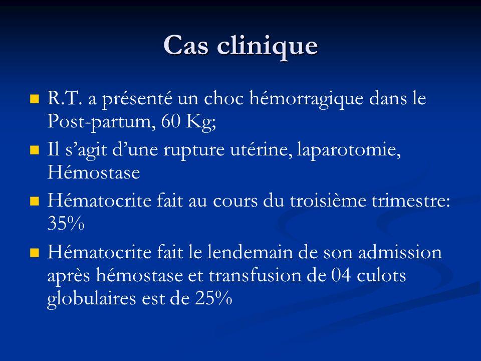 Cas clinique R.T. a présenté un choc hémorragique dans le Post-partum, 60 Kg; Il sagit dune rupture utérine, laparotomie, Hémostase Hématocrite fait a