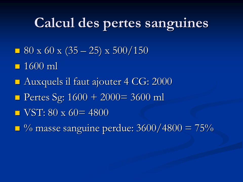 Calcul des pertes sanguines 80 x 60 x (35 – 25) x 500/150 80 x 60 x (35 – 25) x 500/150 1600 ml 1600 ml Auxquels il faut ajouter 4 CG: 2000 Auxquels i