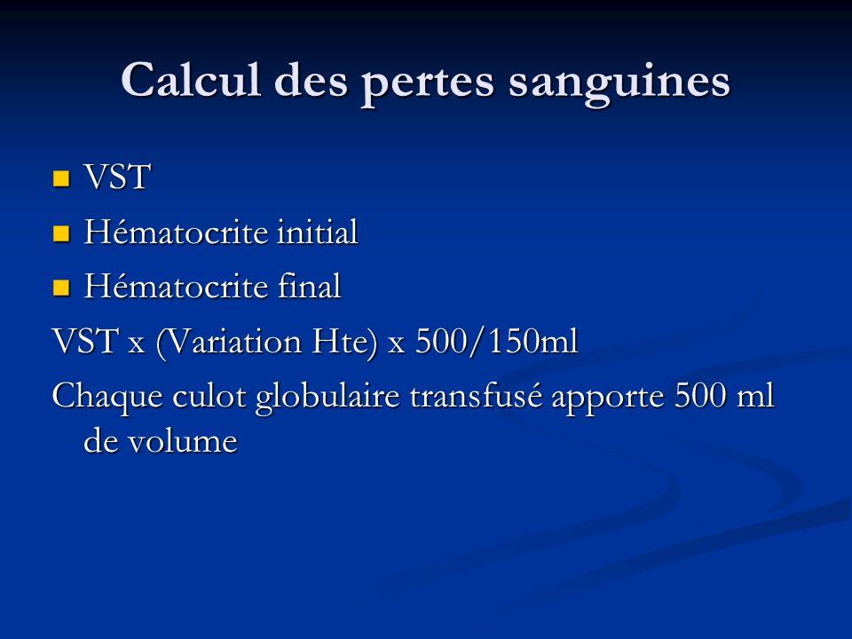 Calcul des pertes sanguines VST VST Hématocrite initial Hématocrite initial Hématocrite final Hématocrite final VST x (Variation Hte) x 500/150ml Chaq