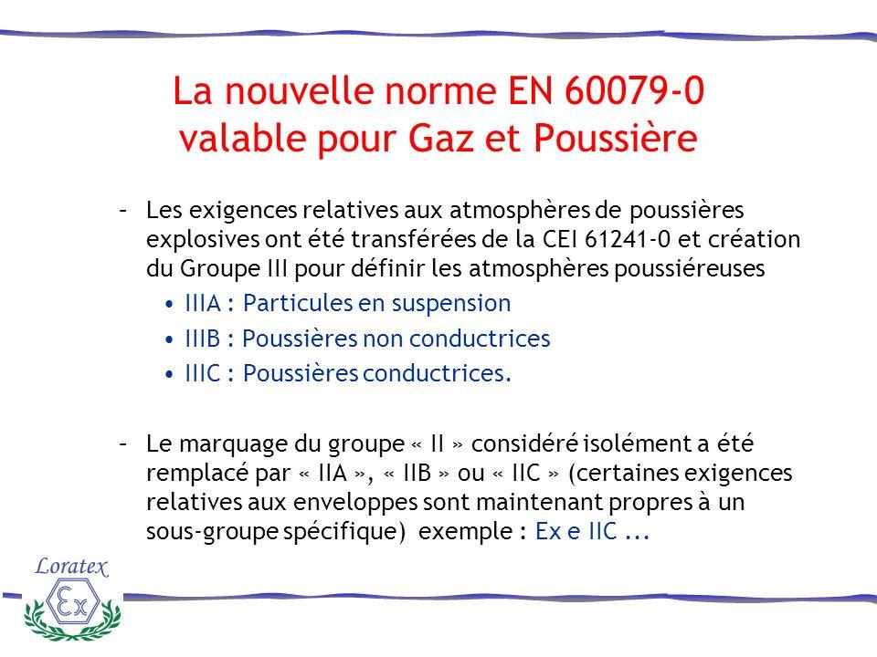 La nouvelle norme EN 60079-0 valable pour Gaz et Poussière –Les exigences relatives aux atmosphères de poussières explosives ont été transférées de la CEI 61241-0 et création du Groupe III pour définir les atmosphères poussiéreuses IIIA : Particules en suspension IIIB : Poussières non conductrices IIIC : Poussières conductrices.
